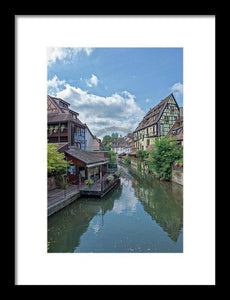 The Village Of Colmar In France - Framed Print 8.000 X 12.000 / Black White