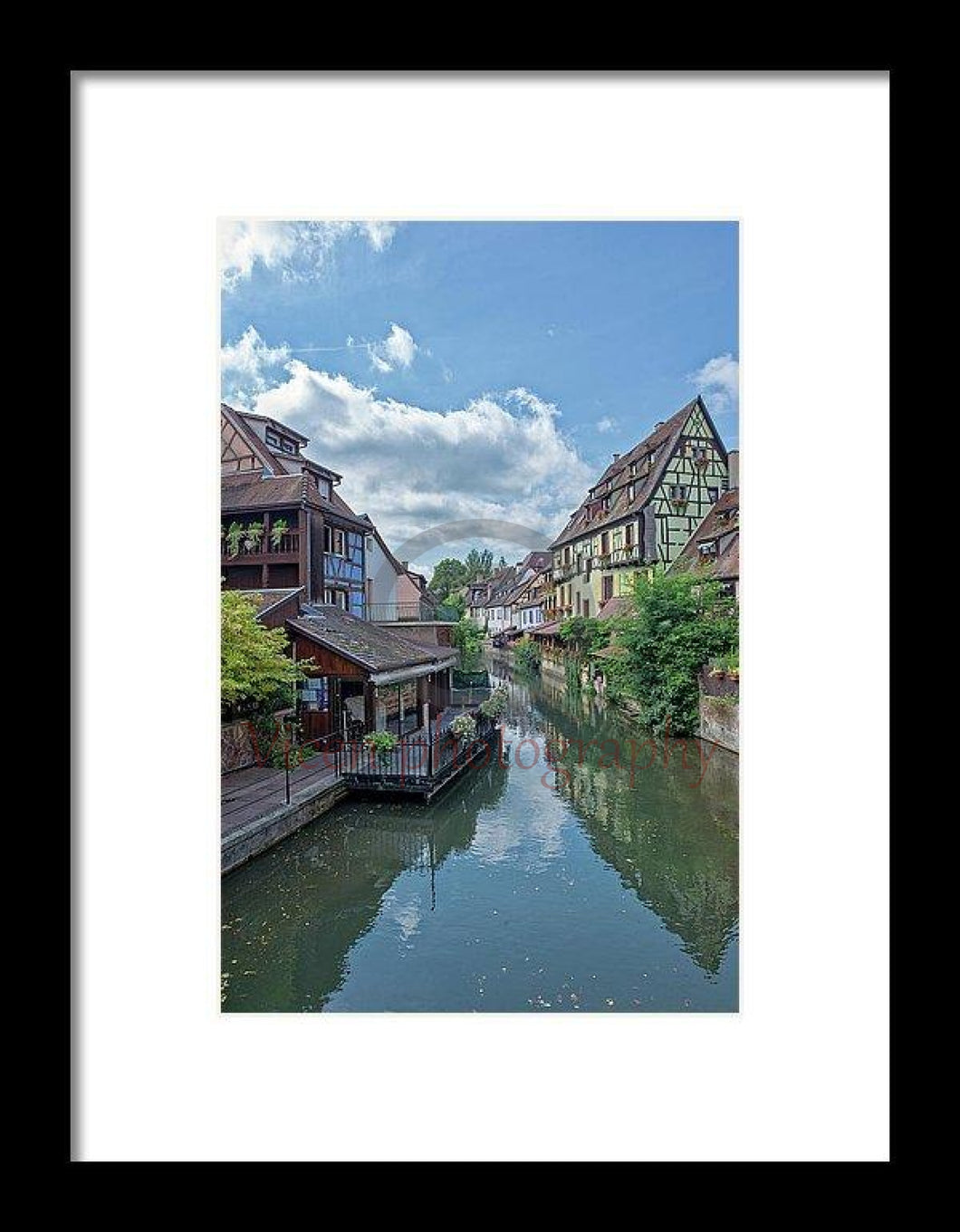 The Village Of Colmar In France - Framed Print 6.625 X 10.000 / Black White
