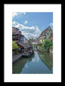The Village Of Colmar In France - Framed Print 9.375 X 14.000 / Black White
