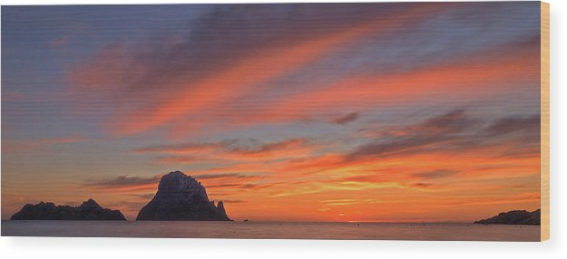 Panoramic On The Sunset On The Island Of Es Vedra, Ibiza - Wood Print