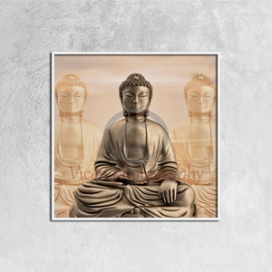 Three buddhas with a sunset sky (3) - Canvas framed