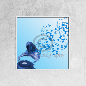 Gramophone And Musical Symbols On Blue Background - Canvas framed