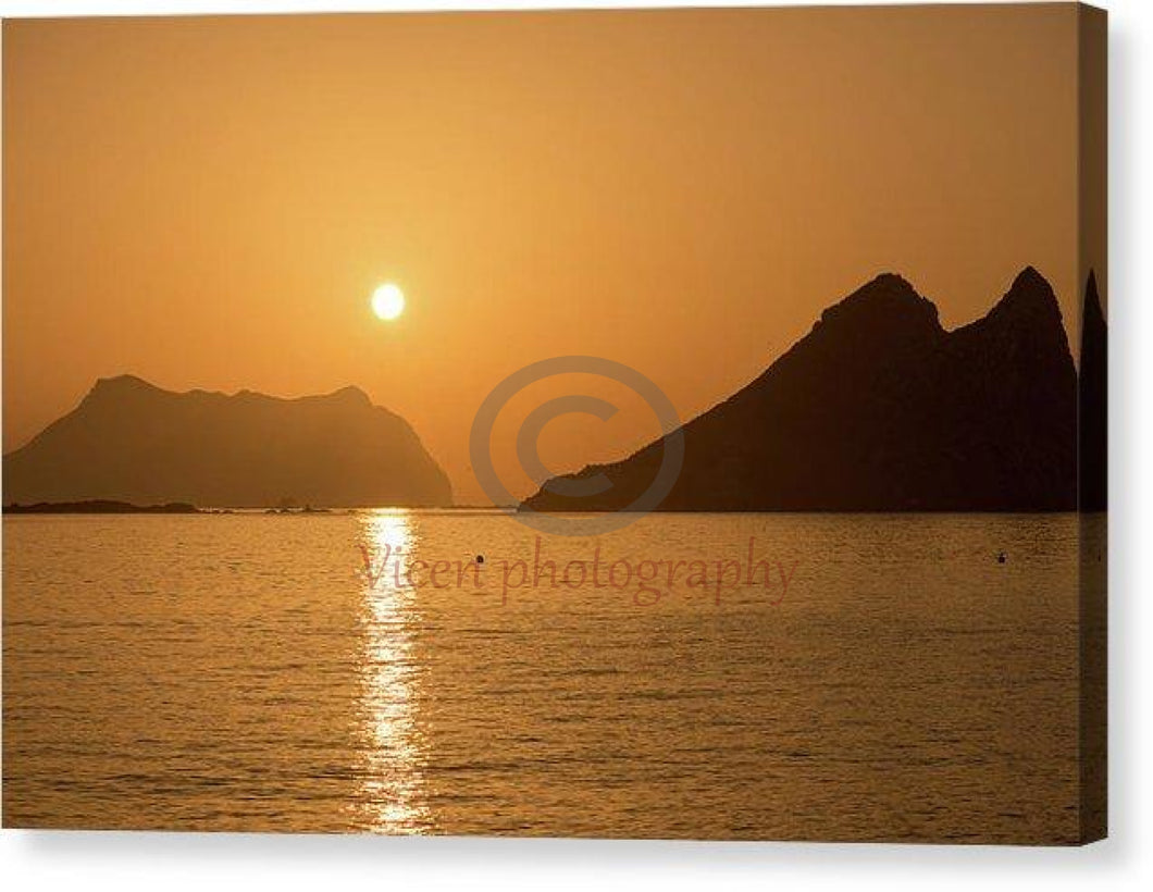 Sunrise After The Island On The Coast Of Murcia - Canvas Print