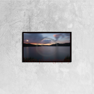 Sunset in long exposure in the ruidera lagoons - Canvas framed