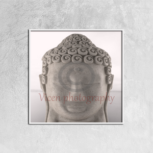 Buddha figure meditating with a gray tone - Canvas framed