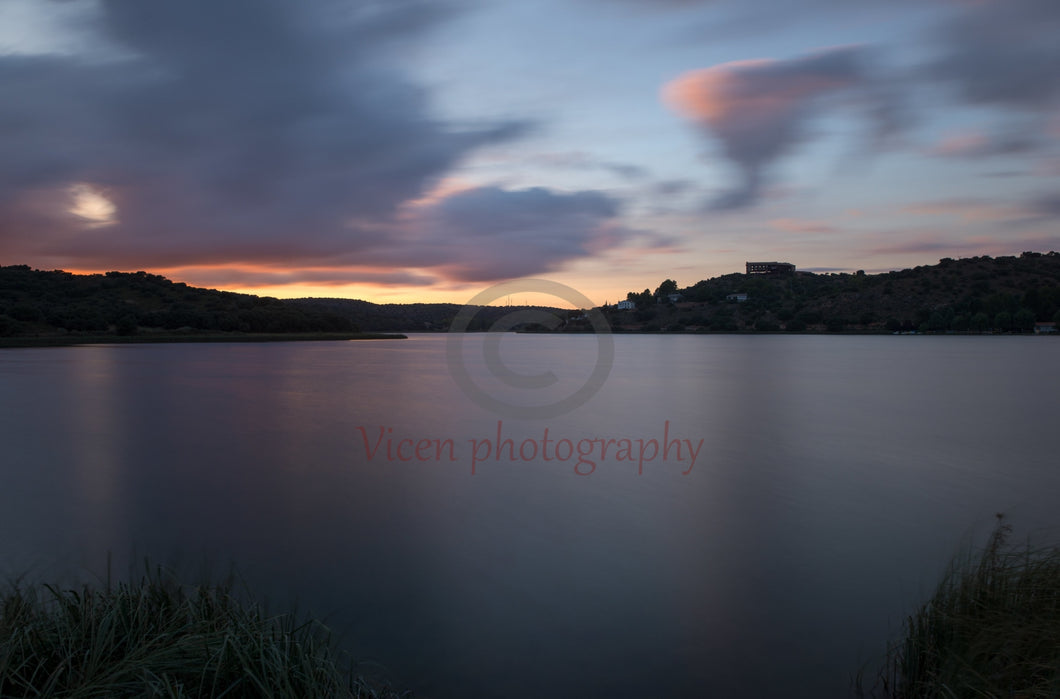 Sunset in long exposure in the ruidera lagoons