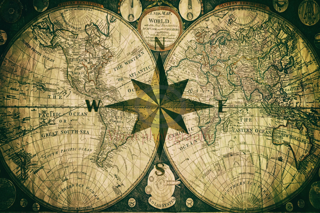 The Compass Rose And An Old Map Digital Art