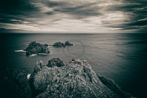 Ortegal cape with black and white old photo effect