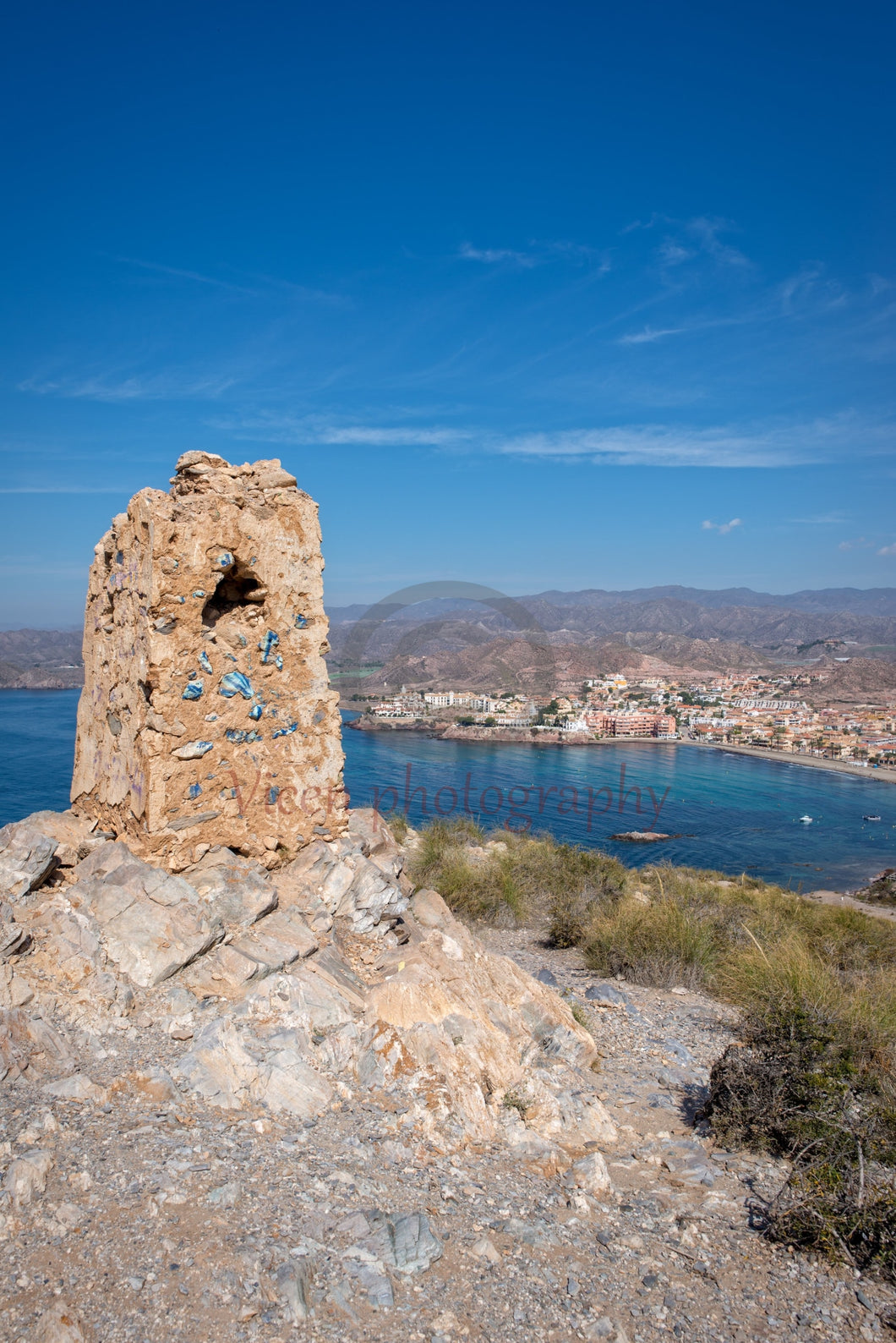 Tower and the village of Calabardina in Murcia