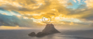 Drawing of the island of Es Vedra in Ibiza at sunset