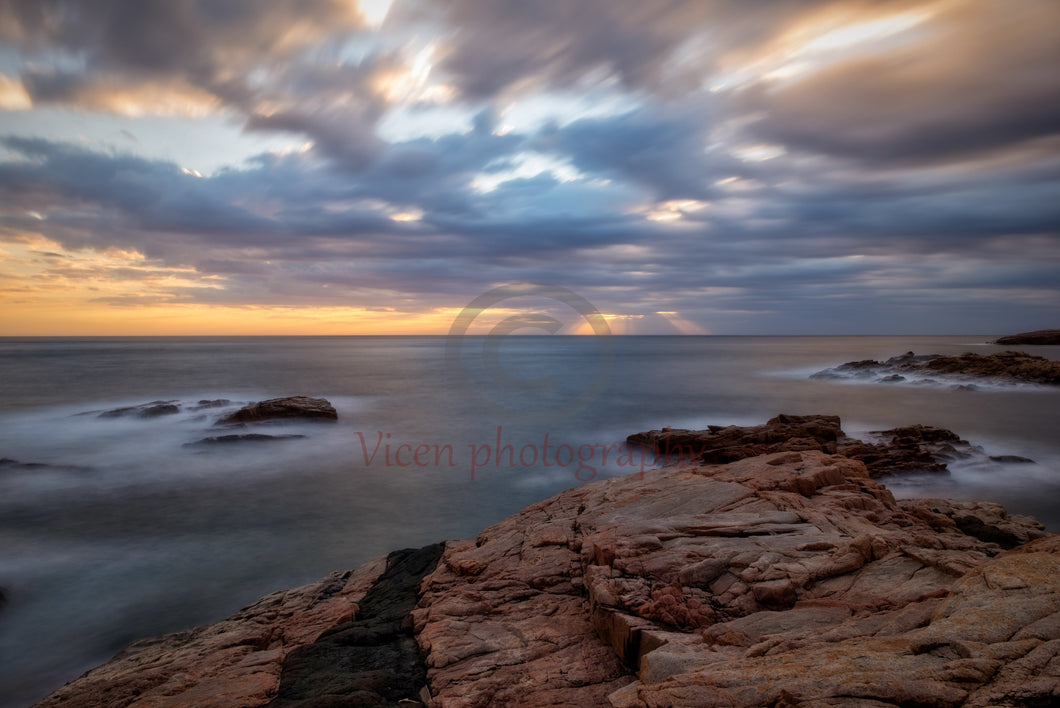 Sunrise on the coast of Begur in long exposure