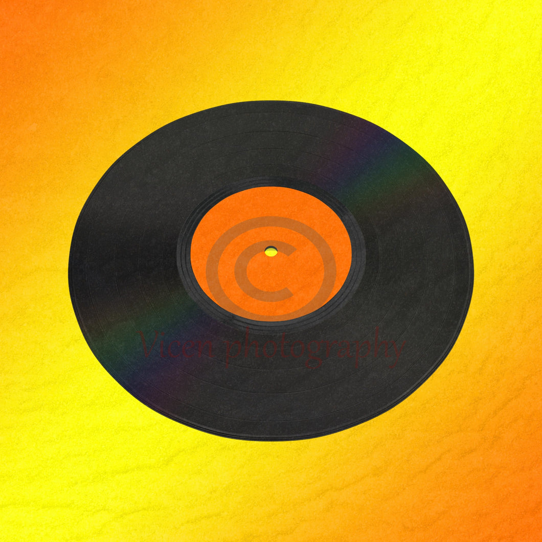 Vinyl Record With A Yellow And Orange Background Digital Art