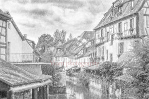 Colmar in France with a drawing effect