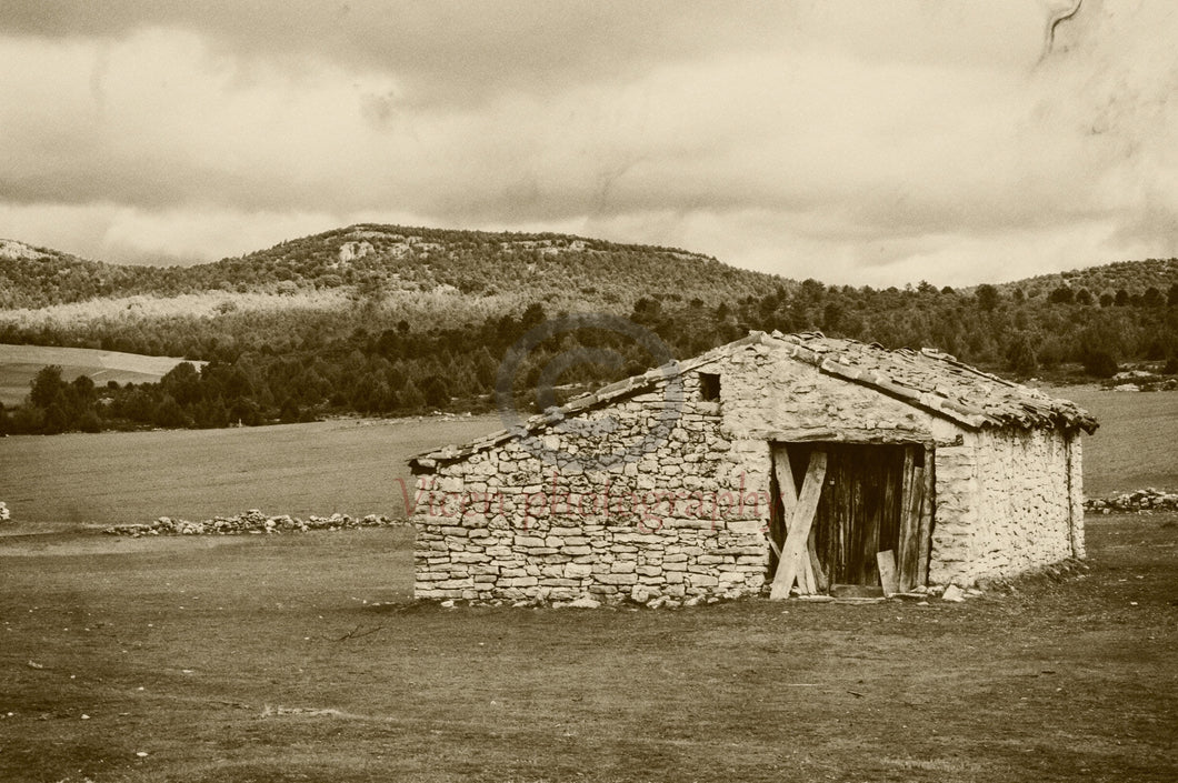 Abandoned house with old photo effect