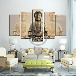 Three buddhas with a sunset sky - 5 Panels Canvas