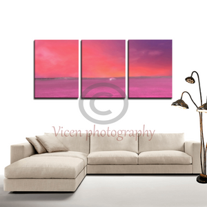 Drawn landscape on a pink sunset in the countryside - 3 Panels canvas