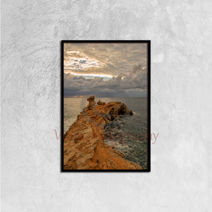 Cloudy Sunrise At Cape Martinet Of Ibiza, Baleares - Canvas framed