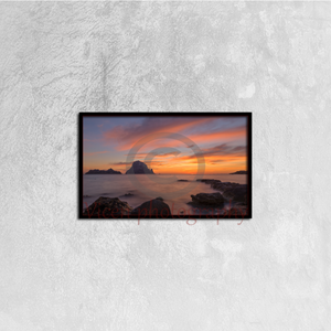The sunset on the island of Es vedra, Ibiza - Canvas framed