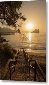 Access To A Beach In Aguilas In Murcia At Dawn - Metal Print