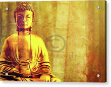 Load image into Gallery viewer, Buddha Figure Meditating Next To Bamboo Canes - Acrylic Print