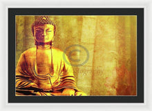 Load image into Gallery viewer, Buddha Figure Meditating Next To Bamboo Canes - Framed Print