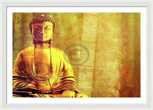 Buddha Figure Meditating Next To Bamboo Canes - Framed Print