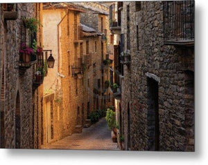 Street In The Medieval Village Of Ainsa, Huesca - Metal Print