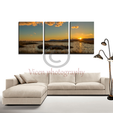 Load image into Gallery viewer, Sunset in the natural park of prat de cabanes - 3 Panels canvas