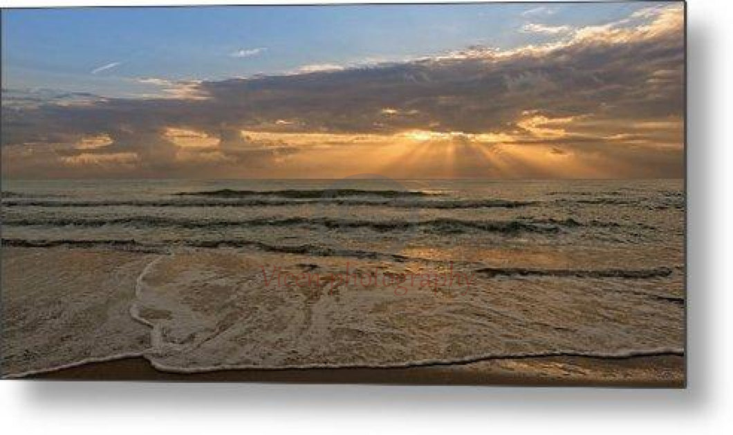 Panoramic Of Cloudy Sunrise In The Mediterranean - Metal Print