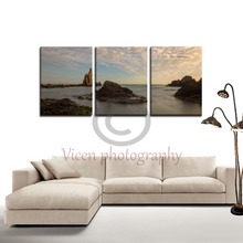Load image into Gallery viewer, Sunset in ¨arrecife de las sirenas¨ in the cabo de gata in long exposure - 3 Panels Canvas