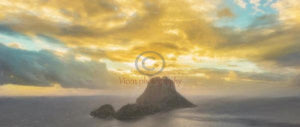 Drawing Of The Island Of Es Vedra In Ibiza At Sunset - Art Print