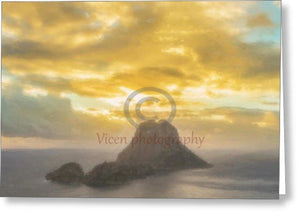 Drawing Of The Island Of Es Vedra In Ibiza At Sunset - Greeting Card