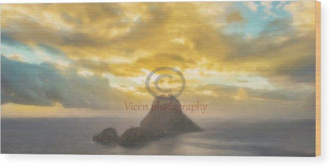 Drawing Of The Island Of Es Vedra In Ibiza At Sunset - Wood Print