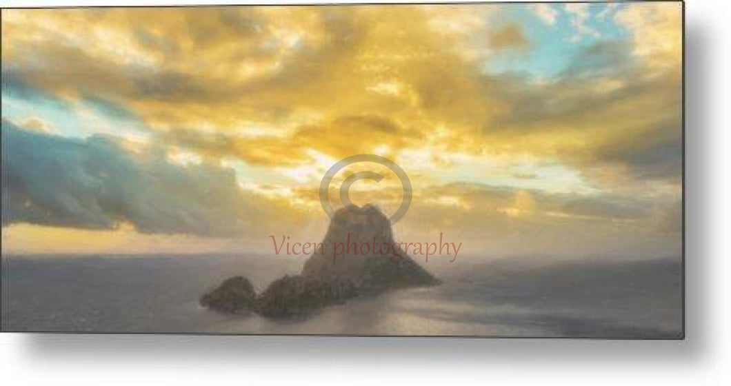 Drawing Of The Island Of Es Vedra In Ibiza At Sunset - Metal Print