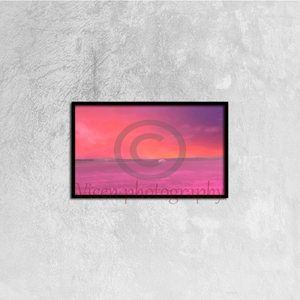 Drawn landscape on a pink sunset in the countryside - Canvas framed