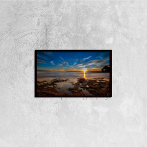 Sunset at sea with Benicasim in the background - Canvas framed