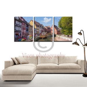 Colmar in France with an impasto effect - 3 Panels Canvas