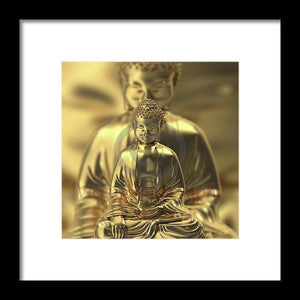 Golden Figures Of Buddha Meditating - Framed Print