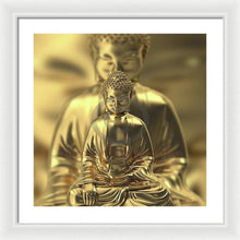 Load image into Gallery viewer, Golden Figures Of Buddha Meditating - Framed Print