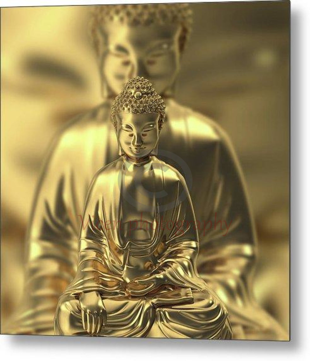 Golden Figures Of Buddha Meditating - Metal Print