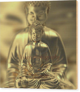 Golden Figures Of Buddha Meditating - Wood Print