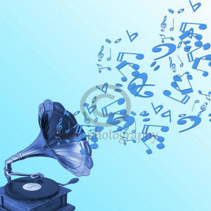 Gramophone And Musical Symbols On Blue Background - Art Print