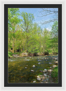 River In A Forest Of The Picos De Europa - Framed Print