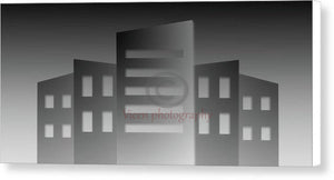 Illustration Of Buildings Of A City In Gray Color - Canvas Print