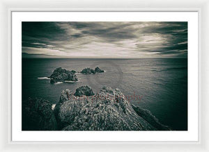 Ortegal Cape With Black And White Old Photo Effect - Framed Print