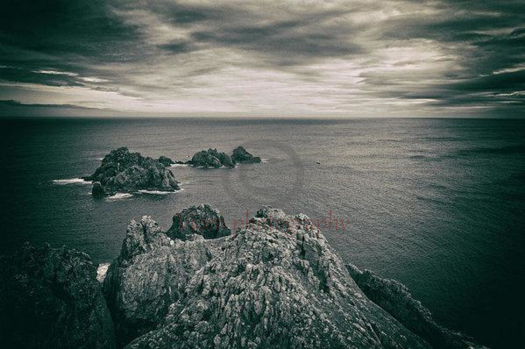 Ortegal Cape With Black And White Old Photo Effect - Art Print