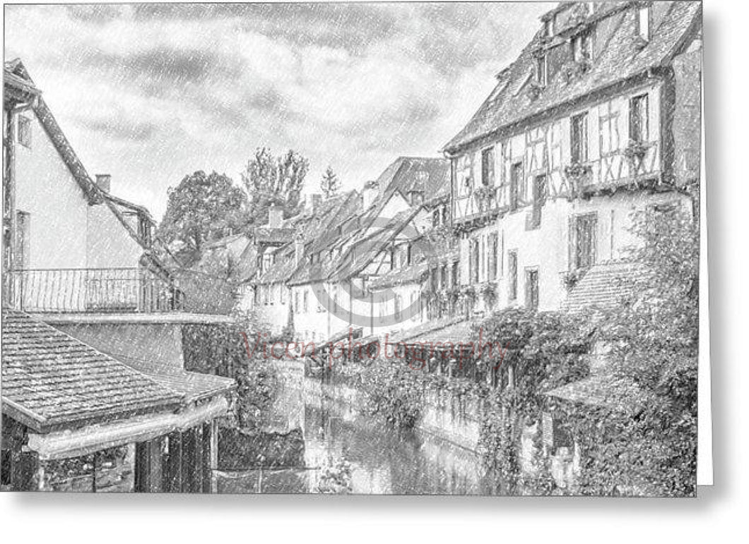 Colmar In France With A Drawing Effect - Greeting Card