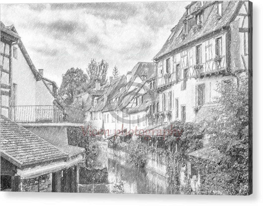 Colmar In France With A Drawing Effect - Acrylic Print