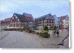 Gengenbach In Germany With Impasto Effect - Greeting Card