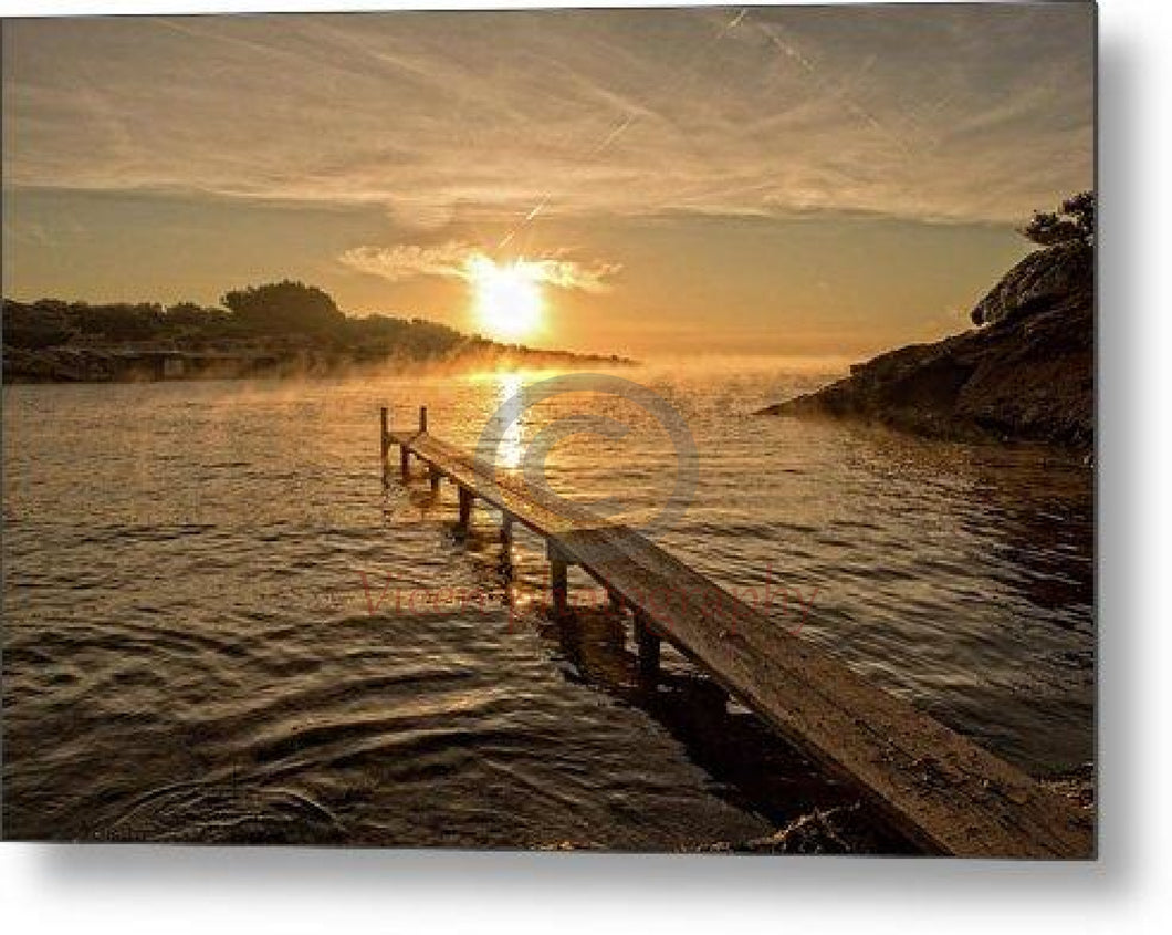 Sunrise On The Beach Of S Estanyol In Ibiza - Metal Print 10.000 X 6.625